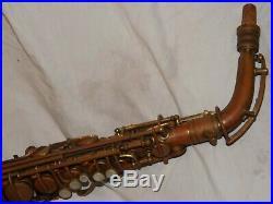 1927 Conn New Wonder II Chu Alto Sax/Saxophone, Mostly Bare Brass, Plays Great