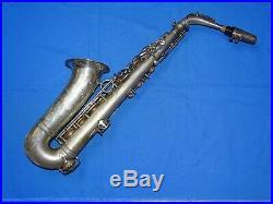 1937 SELMER Paris Balanced Action Silver Alto Sax Saxophone