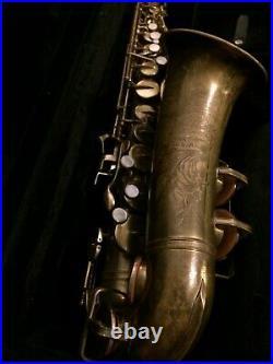 1951 Post Big B Buescher Aristocrat 140 Alto Sax in Protec International Case