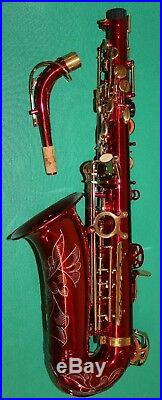 ALTO SAXOPHONE Eb+Fa# RED BODY & GOLD KEYS NEW ORLEANS + DVD + 10 REEDS