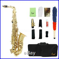 Alto E-flat Saxophon Saxophone Brass Sax Satz mit Koffer Mundstück Zubehör