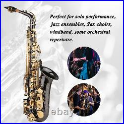 Alto Saxophone Brass Eb Sax Woodwind Instrument with Carry Case Care Kit O9F3