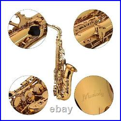 Alto Saxophone Brass Golden Eb Sax Woodwind Instrument with Carry Case Kit S5C1