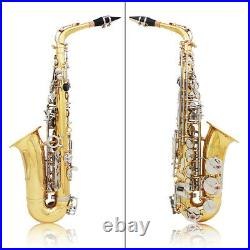 Alto Saxophone Glossy Brass Engraved Eb E-Flat Sax with Carry Case Care Kit T3A8