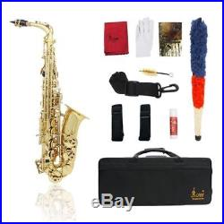 Alto Saxophone Sax Eb Be Flat Brass Carved Pattern Glove+Strap+Accessories Gold