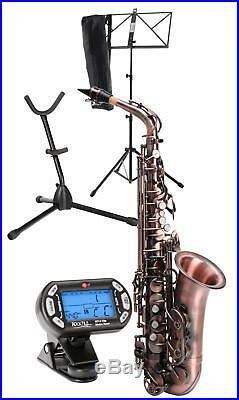 Alto Saxophone Woodwind Sax Support Tuner Bag Music Stand Set Red Vintage Look