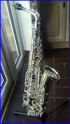 Alto Saxophone silver Trevor James The Horn Revolution Sax and case stand etc