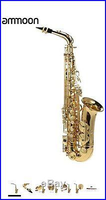 Ammoon bE Alto Saxphone Brass Lacquered Gold E Flat Sax 802 Key Type Woodwind
