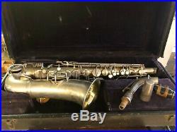 Antique beautiful Conn LTD Alto saxophone sax silver body in original case 1923