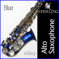 Blue ALTO SAX BRAND NEW Eb STERLING Saxophone With Case Special
