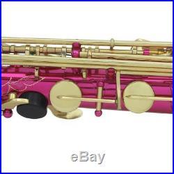Brass E Flat Alto Saxophone Sax Fushcia F Key with Bag Mouthpiece Reed Mute