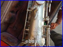 CG Conn Silver Plate Alto Sax Transitional 6M No Damage Free Ship Make Offer