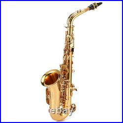 Eb Alto Saxophone Brass Lacquered Gold E Flat Sax 802 Key with Padded Case