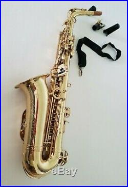 Intermusic Eb Alto Saxophone Sax Gold Finish Outfit with Hard Carry Case B Stock