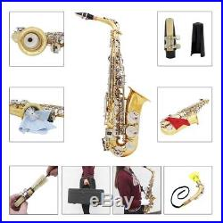 LADE Alto Saxophone Sax with Mute Gloves Cloth Grease Belt Brush Durable H9Y0