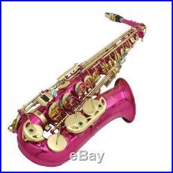 LADE Brass Engraved Eb E-Flat Alto Saxophone Sax Abalone Shell Buttons Portable
