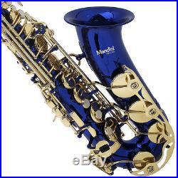 MENDINI BLUE LACQUER BRASS Eb ALTO SAXOPHONE SAX With TUNER, CASE, CAREKIT, 11 REEDS