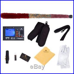MENDINI RED LACQUER BRASS Eb ALTO SAXOPHONE SAX With TUNER, CASE, CAREKIT, 11 REEDS