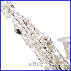 MENDINI SILVER PLATED BRASS Eb ALTO SAXOPHONE SAX With TUNER, CASE, CAREKIT, 11 REEDS