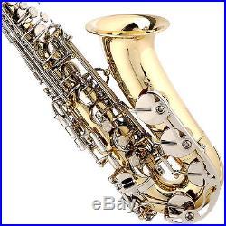 Mendini 2-tone Alto Saxophone Sax Gold Body Nickel Key +tuner+case+carekit