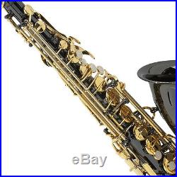 Mendini Black Nickel Body with Gold Keys Alto Saxophone Sax +Tuner+Book MAS-BNG
