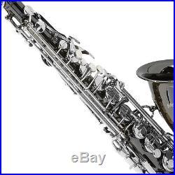 Mendini Black Nickel Body with Silver Keys Alto Saxophone Sax +Tuner+Book MAS-BNN