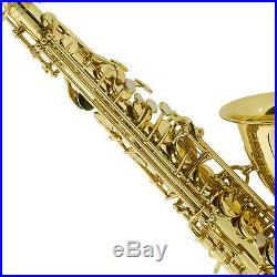 Mendini Gold Lacquered Eb Alto Saxophone Sax +Tuner+CareKit+Case+Book MAS-L