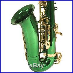 Mendini Green Lacquered Eb Alto Saxophone Sax +Tuner+CareKit+Case+Book MAS-GL