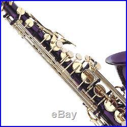 Mendini Purple Lacquered Eb Alto Saxophone Sax +Tuner+CareKit+Case+Book MAS-PL