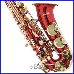 Mendini Red Lacquered Eb Alto Saxophone Sax +Tuner+CareKit+Case+Book MAS-RL