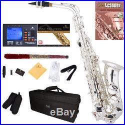 Mendini Silver Plated Eb Alto Saxophone Sax +Tuner+Book+Case+CareKit MAS-30S