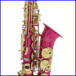 New LADE Alto Saxophone Sax with Case Gloves Cloth Grease Belt BrushRose Red
