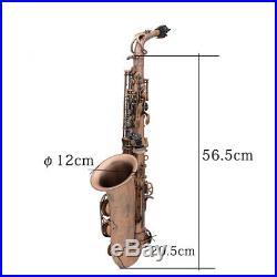 Pro Red Bronze Bend Eb E-flat Alto Saxophone Sax+LADE LD-126 Metal Stand G5E3