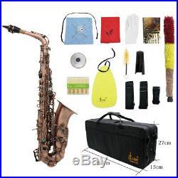 Professional Alto Saxophone Red Bronze Bend Eb E-flat Sax with Padded Case E7E9