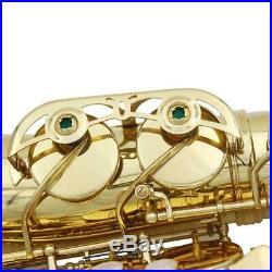 Professional Gold Plating Brass Eb Key Alto Saxophone Sax Set High F# Key