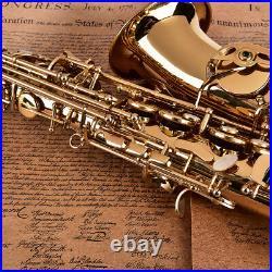 Professional Golden Alto Eb Saxophone Sax Set+Case With Mouthpiece, Grease, Wipe
