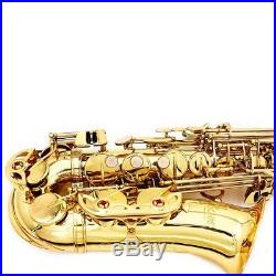 Saxophone Sax Eb Be Alto E-Flat Brass Carved Pattern on Surface Exquisite W0A2