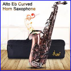 VINTAGE EB ALTO SAXOPHONE SAX CURVED HORN RED BRASS ENGRAVED ABALONE KY With CASE