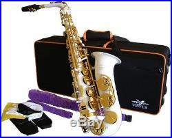 Venus ALTO SAXOPHONE Sax WHITE & GOLD, Ready to Play, Non Stick Pads NEW