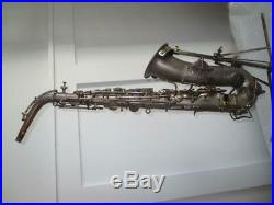 Vintage 1921 The Martin Silver Low Pitch Alto Saxophone Sax With Geib Case