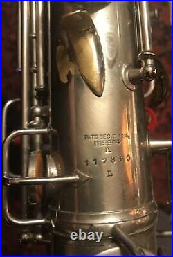 Vintage 1923 Nickel Plated C. G. Conn New Wonder Alto Sax with Alligator Case