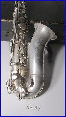 Vintage Antique Lewis Master Kraft Silver Alto Sax Saxophone Wm Lewis & Son RARE