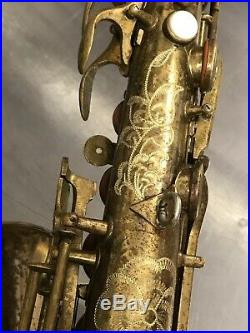 Vintage Pan American Alto Sax Saxophone Used To Practice Engraving Doesnt Play
