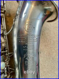 Vintage Selmer Super Sax Cigar Cutter Silverplated Alto Saxophone from 1932